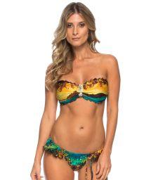 Printed bandeau bikini with seahorse jewel - INDIRA ISLAND