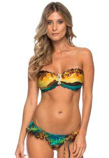 Bikini bandeau imprimé et bijou hippocampe - INDIRA ISLAND