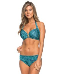 Balconette bikini with blue motif and seahorse detail - ISAURA SEA BLUE