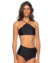 Black bikini to tie with crop top and eyelet detail - JOELMA