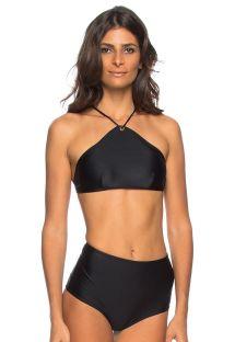 Czarne bikini z wysokim stanem, wiązany crop top - JOELMA