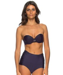 Midnight blue high-waisted bikini with bandeau top - LEONICE