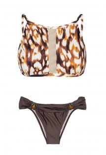 Animal-style crop top bikini and brown tanga bottoms - LEOPARD RIVA
