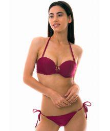Padded push-up bandeau bikini - dark pink - LINDAS ILHAS