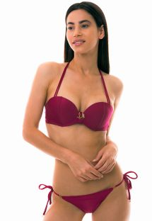 Padded push-up bandeau bikini - dark pink - LINDAS ILHAS