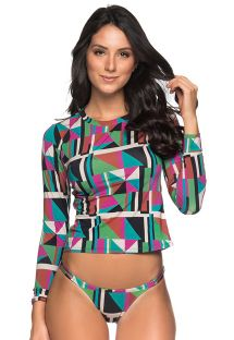 Long sleeve bikini in colorful geometric print - LONGA DELAUNAY