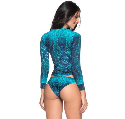 Blauer langärmliger Bikini, Reptilienmuster - LONGA DIAMOND