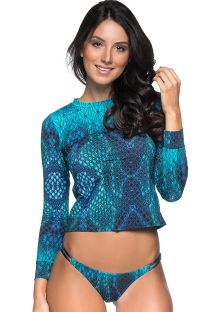 Long sleeve bikini in blue print - LONGA DIAMOND