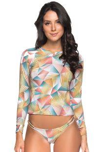 Langermet pastellfarget rashguard sett med geometrisk mønster - LONGA GEOMETRIC ART