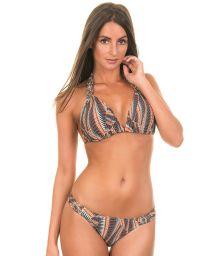 Brown African print Brazilian bikini with padded triangle top - MACRAME ETNICO