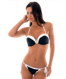 Textured bi-colour bandeau bikini with accessory - MADELYN