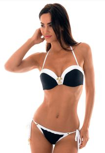 Textured bi-colour bandeau bikini with accessory - MADELYN