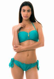 Bikini bandeau paddé zippé bleu turquoise  - MAR VERDINHO