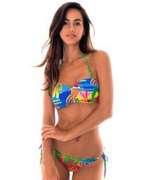 zipped bandeau bikini in colourful naïve print - MATISSE IGUAL