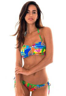 zipped bandeau bikini in colourful naïve print - MATISSE IGUAL