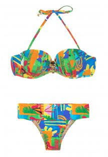 Printed multicoloured abstract padded bandeau bikini - MATISSE PREGAS