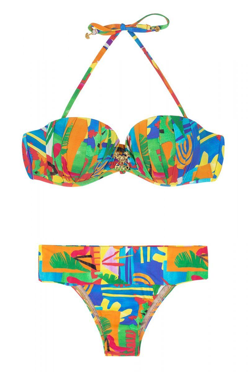Printed multicoloured abstract padded bandeau bikini - MATISSE PREGAS