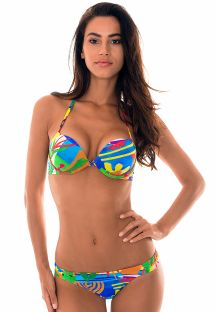 Farbenfroher Push-up-Bikini, naives Muster - MATISSE SUPER