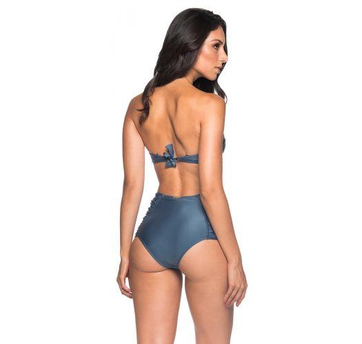 Accessorized burgundy dark blue bikini with high-waisted bottom - METAL ELEGANCE