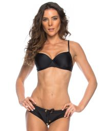 Black bikini balconette top and bottom with eyelets - MICAELA