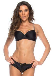Sort balconette bikini og bikinitrusser med snøreringe - MICAELA