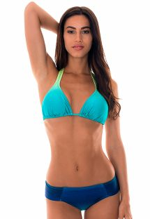 Halterneck triangle swimming costume in staggered shades of blue - MIMOSA BLUE