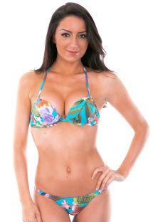 Blauw gebloemde bikini met push-up topje - MINI FIORI