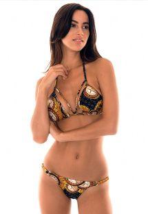 Justerbar string-bikini med casinomönster i svart/guld - MONTECARLO DECOTE