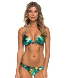 Marine background print push-up bikini and tanga bottoms - NAIANY