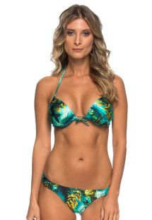 Marine background print push-up bikini and tanga bottoms - NAIANY