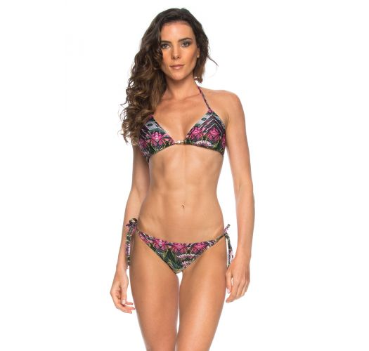 Floral pink/green Brazilian swimming costume - NATIVE LACINHO