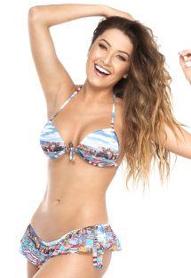 Bikini brésilien à volant imprimé maritime - NAUTICA BARCA