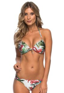 Flamingo pattern Brazilian bikini with push-up top - NEREIA