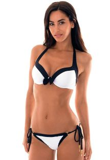 Textured white/black balconnet underwire bikini  - NOLA