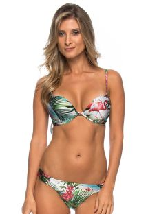 Push up bikini med rosa flamingo coh string nedredel - NUBIA