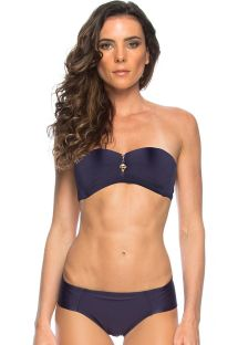 Midnight blue bikini with padded, zipped bandeau top  - OCEANO ZIPER