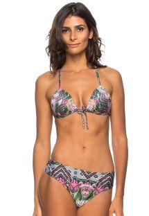 Bikini met etnische bloemenprint en hipsterstring- PENEDO