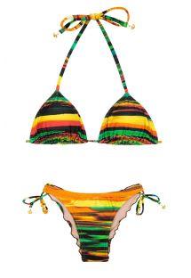 Biquíni de top triangular e cueca franzida, padrão colorido - PINTURA CORACAO
