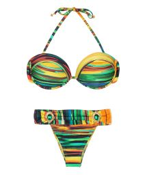 Printed bandeau bikini with jewelled bottom - PINTURA JOIA