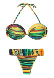 Bikini bandeau estampado y braguita de joyas  - PINTURA JOIA