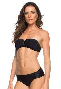 Bikini a fascia nero con zip e dettagli oro - RAQUEL