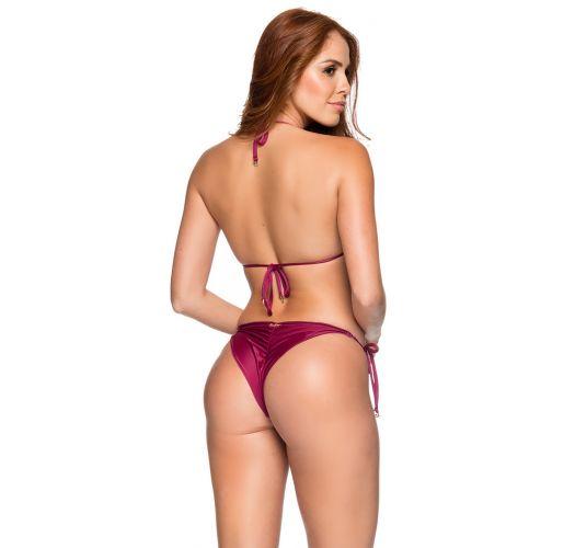 Burgundy side-tie scrunch Brazilian bikini - RIPPLE CERISIER