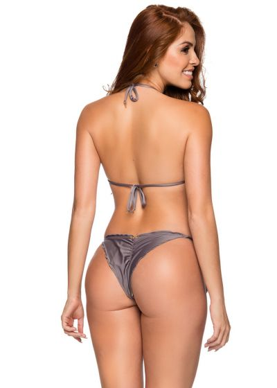 Grey triangle scrunch bikini with wavy edges - RIPPLE VINTAGE