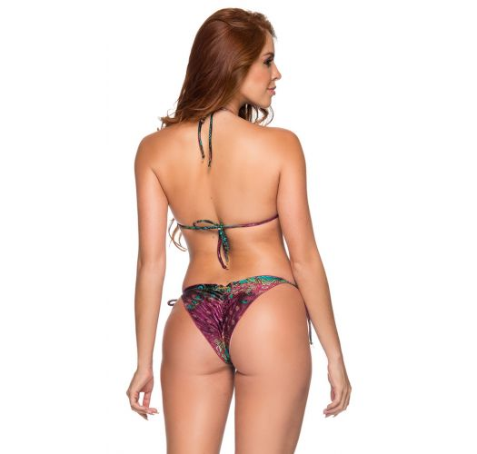 Peacock print side-tie scrunch Brazilian bikini - RIPPLE VOLERY