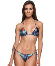 Blue printed Brazilian bikini with ultra low-rise bottom - RIVA IGUAL