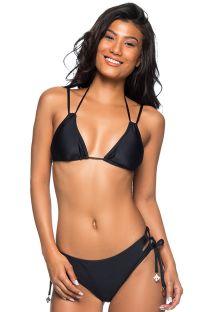 Triangel-Bikini, Hose mit geschnürten Seiten - ROLETÊ PRETO