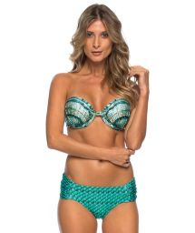 Blue shell-print push-up bikini - SCALES MEDIA BLUE