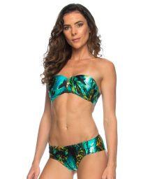 Marine background print zipped bandeau bikini - SHARKS ZIPER