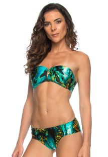 Bikini bandeau zippé imprimé fonds marins - SHARKS ZIPER