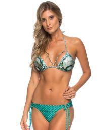 Blue shell print triangle bikini - SHELL SCALES BLUE